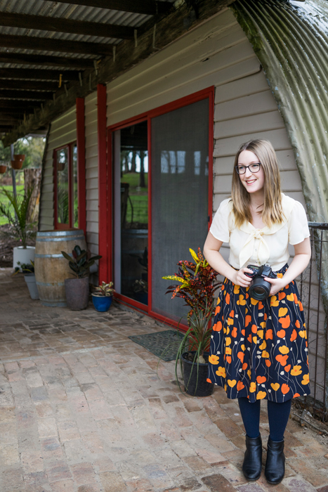 Julia Nance outside at her Melbourne Photography Studio based in Lilydale, VIC.