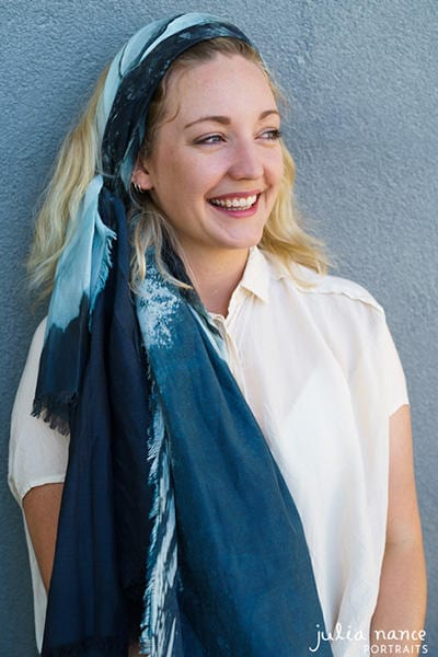 Melbourne Personal Branding Portrait & Corporate Headshot - Blonde woman smiling with a blue scarf
