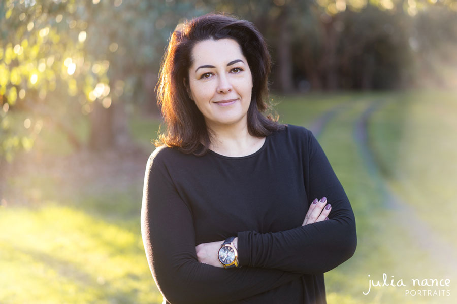 Melbourne personal branding portrait and corporate headshot of woman in outdoor sunset setting